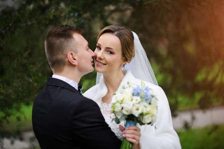 Young wedding couple enjoying romantic moments