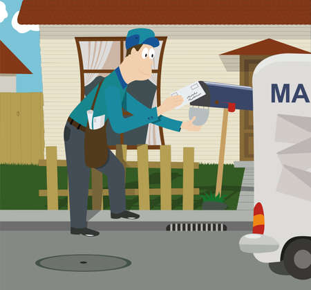 Mailman putting a letter in the mailbox in the afternoon Illustration