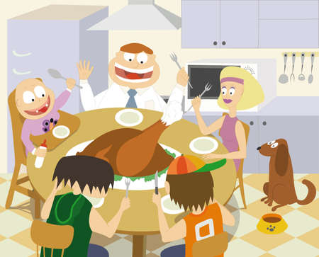 Family Celebrating Thanksgiving All Together Eating A Big Turkey Royalty Free Cliparts Vectors And Stock Illustration Image 6368251