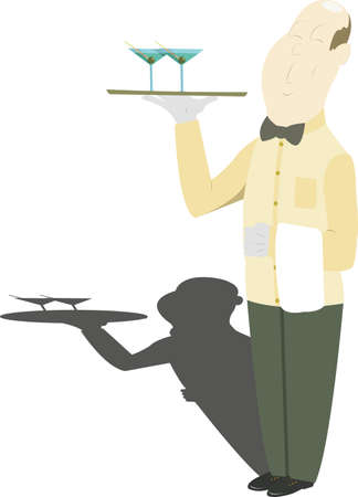 waiter carrying a tray with two glasses of wine