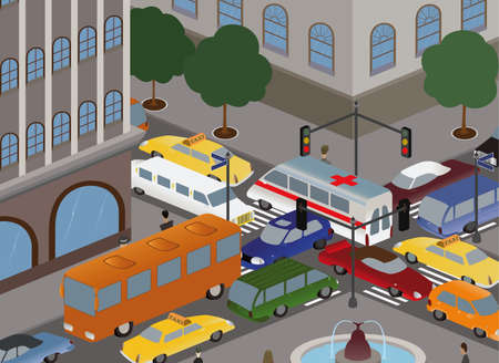 different cars gathered into a pileup on the crossroads Illustration