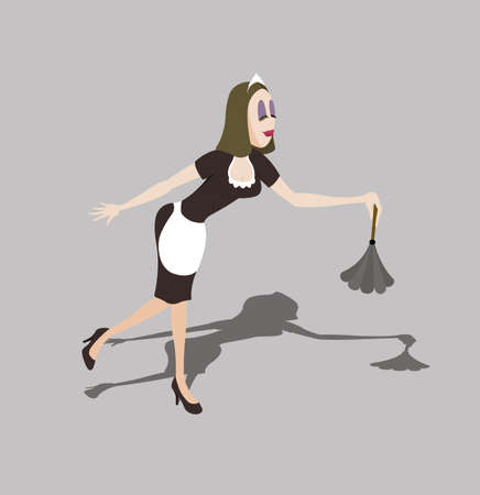 maid cleaning up and dancing on gray background