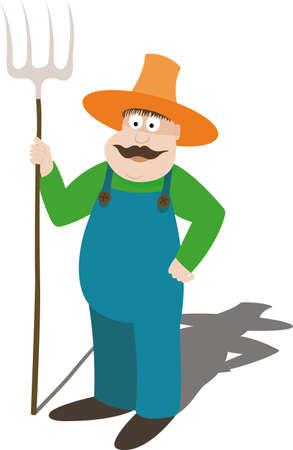 sombrero de paja: Farmer en un sombrero de paja sosteniendo un pitchfork  Vectores