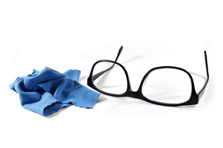 Black Eye Glasses Isolated on White Cleaning