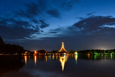 khon: Wat Nong Wang temple in Twilight Time. Khon Kaen Province, Thailand.