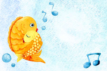 Cartoon fish puts baby to sleep. Watercolor hugging goldfish, mom and baby for the design of childrens products, books, prints, posters, banners, cards, congratulations, invitations, scrapbooking