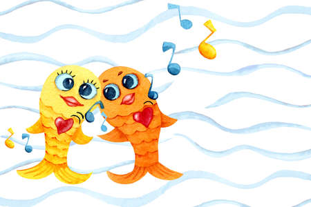 Singing and dancing goldfish. Cartoon character in watercolor. Childrens drawing with fish, notes and player for the design of print, background, cover, wallpaper, packaging, bedding, scrapbooking, p