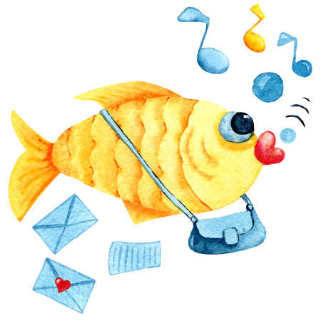 Mail and delivery for hearts in love. Singing cartoon goldfish postman with bag and envelopes. Watercolor illustration with a childish character for the design of print, postcard, banner, cover, invitation, greetings, wall, scrapbooking, wallpaper