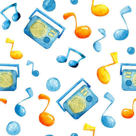 Seamless pattern with musical notes. Watercolor illustration for festival design, banner, wallpaper, cover, packaging, wrapper, background template Banque d'images - 128890285