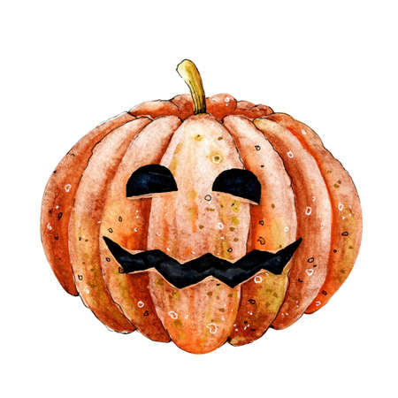 Pumpkin vegetable with face for Halloween holiday decor. Watercolor hand illustration for design of print, wall, banner, template, card, greeting, invitation
