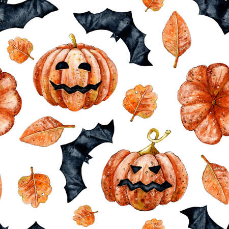 Pumpkin vegetable with face and bat for Halloween holiday decor. Seamless pattern. Watercolor hand illustration for design 스톡 콘텐츠