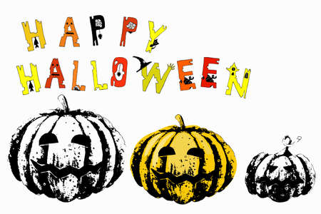 Lettering Happy Halloween. Color torn jagged letters with holiday symbols - spider web, spider, cat, pumpkin, castle, witch hat, mouse.