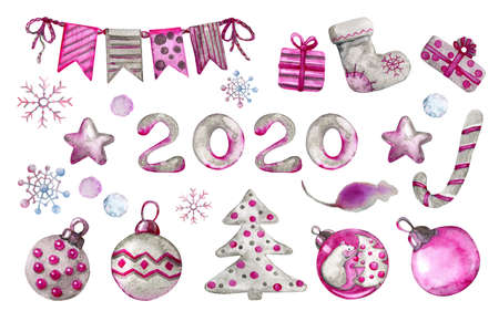 Set of holiday decorations for New Year and Christmas 2020. Freehand drawing, watercolor illustration Banco de Imagens