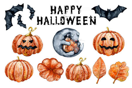 Collection of autumn symbols. Lettering Happy Halloween. Black torn jagged letters with holiday symbols - spider web, spider, even cat, pumpkin, castle, witch hat, mouse. Reklamní fotografie