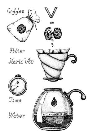 An alternative way to brew coffee through a paper filter, pouver, hipster, dripper. Vector illustration, freehand doodle drawing with the image of coffee accessories, for the design of a cafe, restaurant, menu, flyer, announcement, advertisement, invitation. Banque d'images - 129960690