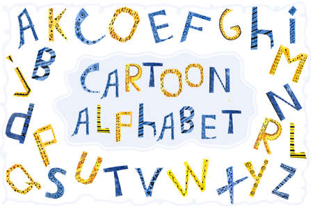 Cartoon letters of the English alphabet. Watercolor hand illustration collage made of paper. For the design of childrens products, banner, background, invitations, greetings, scrapbooking, prints.