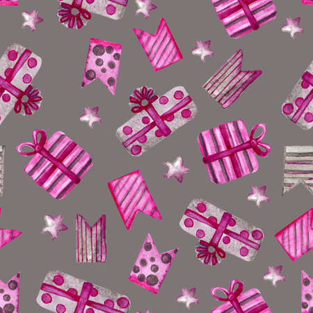 Festive background with Christmas decorations. Christmas star for design and decoration of wallpaper, invitations. Watercolor seamless pattern for new year.
