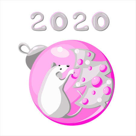 White metal rat decorates a Christmas tree. The symbol of Chinese New Year and Christmas 2020. Vector illustration. Christmas balls and numbers for the design of the background, cover, wall