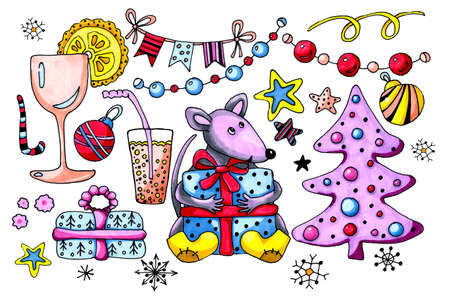 Cartoon animal rat, mouse, symbol 2020, prepared a surprise and gives gifts. Collection of elements. Hand drawing watercolor illustration for the design of childrens and Christmas products.
