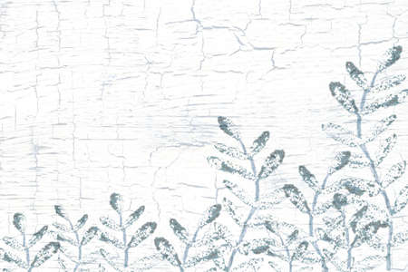 Grass, leaves, sprigs on a crocheted cracked background. Handmade illustration with plants on a texture with scratches and brush strokes. For the design of templates, backgrounds, weddings, banners, invitations, greetings. 版權商用圖片