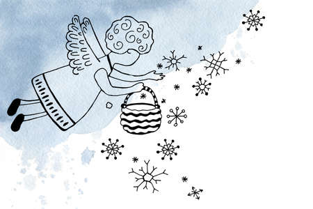 Christmas angels - a boy invite to a holiday, sow snowflakes. Hand drawn linear doodle illustration for the design of New Year and Christmas products, background, template, banner, postcard, congratulation.