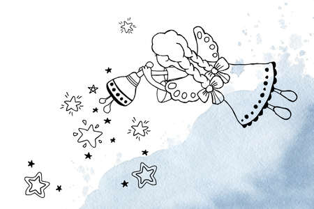 Christmas angels - a girl invite to a holiday, ring a bell and sow stars. Hand drawn linear doodle illustration for the design of New Year and Christmas products, background, template, banner, postcard.