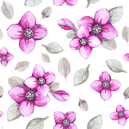 Seamless pattern with hydrangea flowers on a white background. Hand watercolor illustration. Design for fabric, background, wallpaper, packaging, wrappers, covers, invitations, greetings. Stock Photo