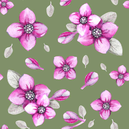 Seamless pattern with hydrangea flowers on a green background. Hand watercolor illustration. Design for fabric, background, wallpaper, packaging, wrappers, covers, invitations, greetings.