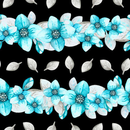 Seamless pattern with hydrangea flowers on a black background. Hand watercolor illustration. Design for fabric, background, wallpaper, packaging, wrappers, covers, invitations, greetings. Stock Photo