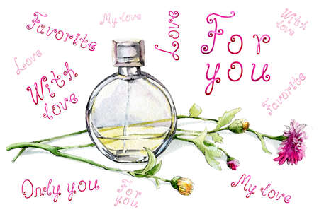 A bottle with the aroma of perfume, toilet water and a bouquet of flowers. The inscription love is for you, only you. Hand drawn watercolor illustration for design of banner, background, business card Reklamní fotografie - 131923389