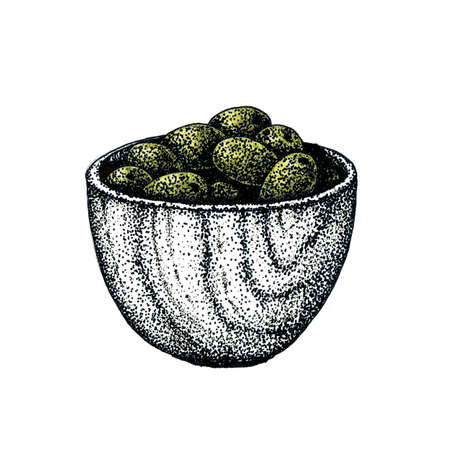 Fruits of olives in a cup. Harvesting and harvesting, cooking. Hand drawn dotted graphic design for banner design, template, cosmetic products, business cards, advertising, menu, print, postcard.