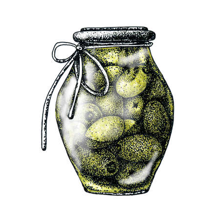 Fruits of olives in a jar. Harvesting and harvesting. Hand drawn dotted graphic design for banner design, template, cosmetic products, business cards, advertising, menu, print, postcard. Stock Photo