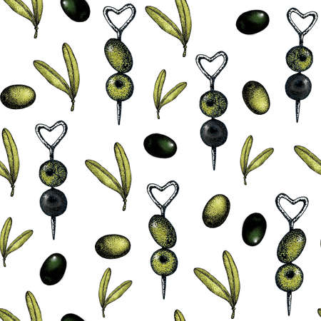 Seamless pattern with an illustration of black and green olives on a white background with sprigs and leaves. Design for olive oil, packaging, natural cosmetics, health products, wallpapers