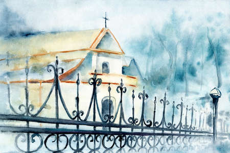 Orthodox, catholic church, temple and fence made of metal bars with curlicues. Horizontal hand watercolor illustration. Architectural building on a background of trees for the design of a religious concept. Stockfoto