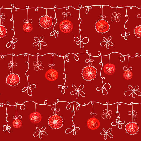 Seamless pattern with a garland of Christmas balls with flowers on a red background. Hand drawn watercolor illustration for the design of New Year and Christmas products 2020.