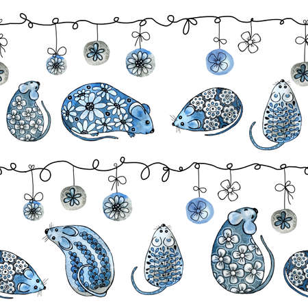 Seamless pattern. Watercolor illustration with a mouse, a rat, decorated with flowers and twigs. Elegant cartoon animal in anticipation of the holiday. Hand drawing with the symbol of the New Year 2020 for the design of print, background, greeting card, congratulations, childrens products. Stock fotó