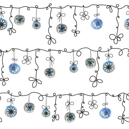 Seamless pattern with a garland of Christmas balls with flowers on a white background. Hand drawn watercolor illustration for the design of New Year and Christmas products 2020. Stock fotó