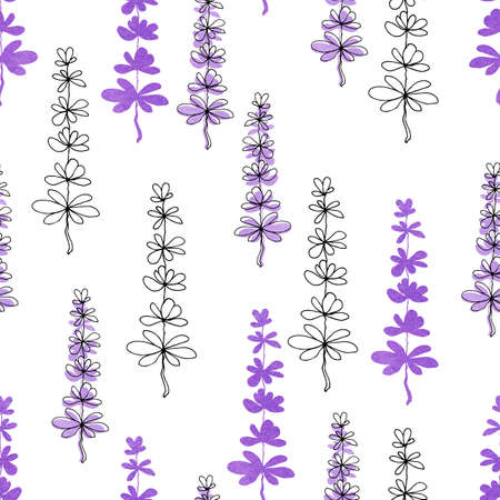 Seamless pattern with delicate lavender flowers on a white background. Hand drawn watercolor illustration for design background, cover, wrapper, package, wedding, template, greeting card.