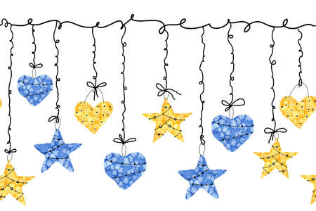 Christmas seamless border pattern with a garland of stars and hearts. Hand drawn watercolor illustration isolated on a white horizontal background. For the design of New Year 2020 and Christmas products, gifts, packaging, wrappers, wallpapers, cards, greetings.