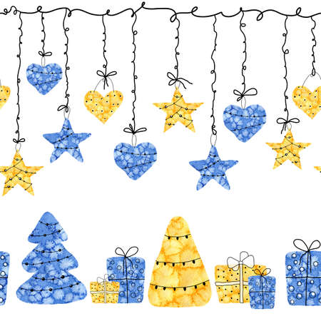Christmas seamless border pattern with garland of stars, hearts, trees, gifts. Hand watercolor illustration isolated on a white horizontal background. Design of New Year and Christmas products.