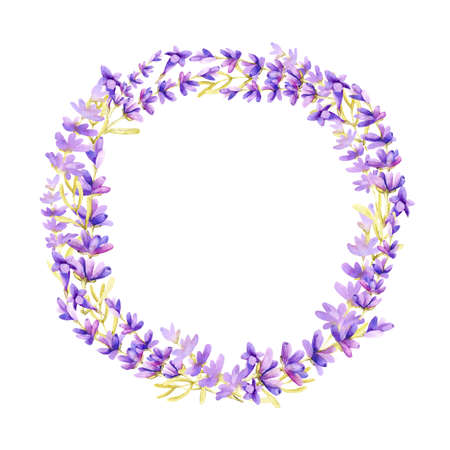 Round frame of lilac lavender flowers on a white background, with place for text. Hand drawn watercolor illustration for design of banner, template, business card, advertisement, wedding, invitation.