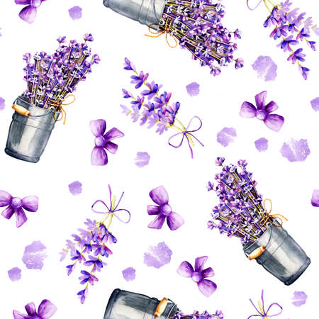 Seamless pattern with delicate sprigs of lavender flowers in a bouquet and in a bucket, with ribbons, isolated on a white background. Hand drawn watercolor illustration for design background, cover, wrapper, package, wedding, template, greeting card.