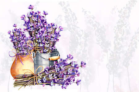A bouquet of lavender flowers, twigs tied with twine, a bundle in an aluminum bucket and clay ceramic pot. Hand drawn watercolor illustration for design of wedding concept, birthday, Valentines day, greetings, invitations, cards.