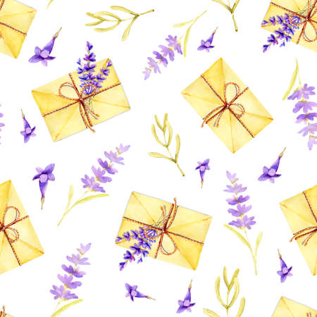 Seamless pattern with mail envelopes and sprigs of lavender flowers on a white background and ribbon. Hand drawn watercolor illustration for design background, cover, wrapper, package, wedding, template, greeting card.