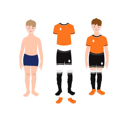 Full height soccer player boy and set of sportswear. A man in clothes and without clothes. Flat cartoon vector illustration. For the design of a sports concept, banner, background, championship. Vectores