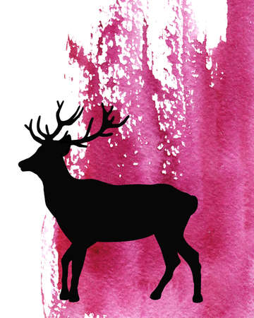 Mammal animal, silhouette of an elk, deer on abstract watercolor purple background. Closeup watercolor hand drawn illustration for design of print, banner, label, template, cover, postcard. Фото со стока