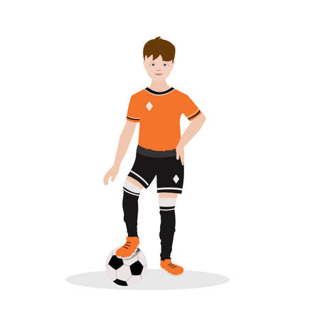 Boy soccer player in a tracksuit stands in full growth and plays with the ball. Vector illustration. Sport concept, football match Europe 2020, championship, competition, young generation.