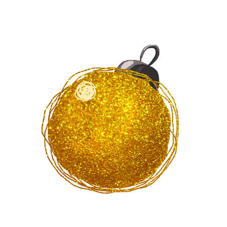 Christmas decoration, big gold ball isolated on white background. Hand drawn watercolor painting for festive New Year 2020 design and Christmas products, card, banner, congratulation Stok Fotoğraf