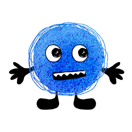 Cartoon scary microbe, virus, with eyes, arms, legs. Hand drawn watercolor illustration isolated on white background. Design of medical concept, disease prevention, brochures, poster, banner, flyer.