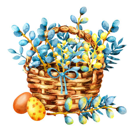 Easter colored eggs and pussy-willow twigs in a wicker basket. Hand drawn watercolor illustration isolated on white background. Design for holiday products, greeting cards, packaging, banner. Stock Illustration - 136173614